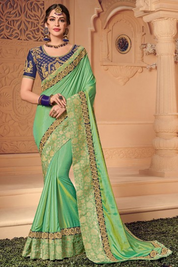 Classic Green Silk Embroidered Wedding Saree With Silk Blouse