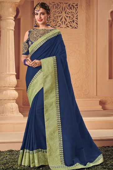 Gorgeous Navy Blue Silk Embroidered Wedding Saree With Silk Blouse