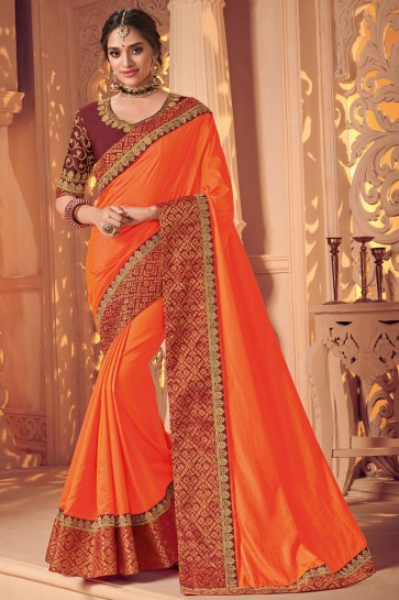 Stylish Orange Silk Embroidered Wedding Saree With Silk Blouse