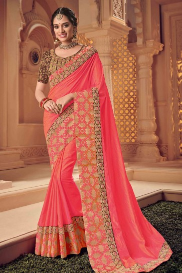 Admirable Pink Silk Embroidered Wedding Saree With Silk Blouse