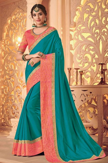Beautiful Teal Silk Embroidered Wedding Saree With Silk Blouse