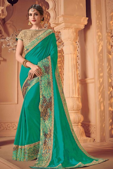 Ultimate Turquoise Silk Embroidered Wedding Saree With Silk Blouse