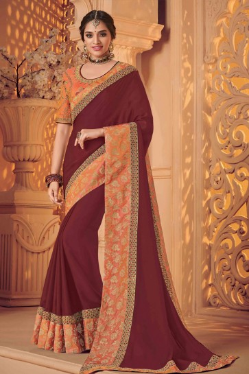 Desirable Maroon Silk Embroidered Wedding Saree With Silk Blouse