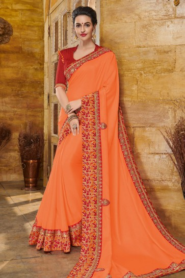 Charming Orange Silk Embroidered Party Wear Saree With Silk Blouse