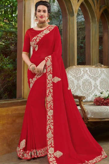 Lovely Red Georgette Embroidered Party Wear Saree With Silk Blouse