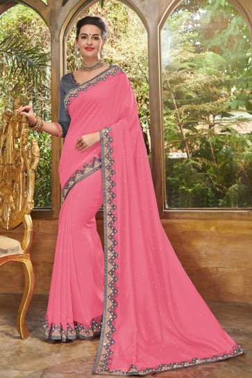 Supreme Pink Silk Embroidered Party Wear Saree With Silk Blouse