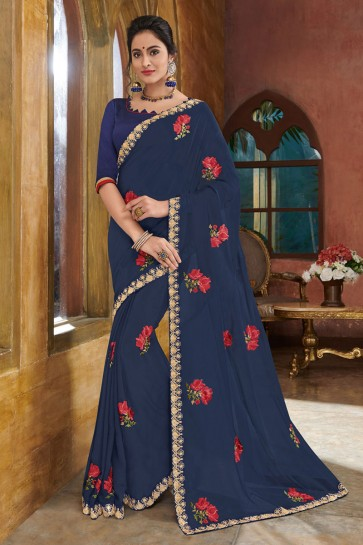 Admirable Violet Georgette Embroidered Party Wear Saree With Silk Blouse