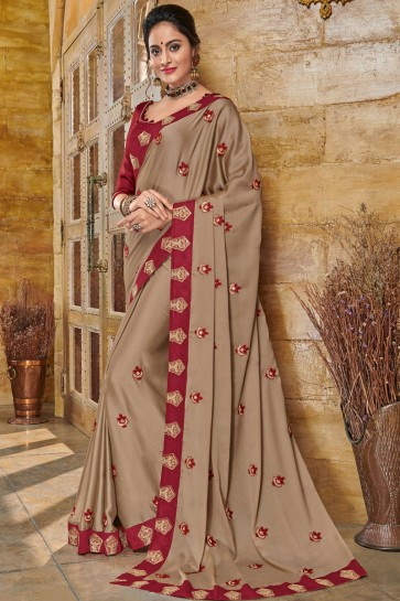 Desirable Beige Silk Embroidered Party Wear Saree With Silk Blouse