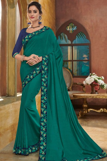 Excellent Green Silk Embroidered Party Wear Saree With Silk Blouse