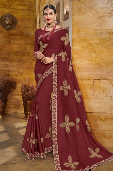 Classic Maroon Georgette Embroidered Party Wear Saree With Silk Blouse
