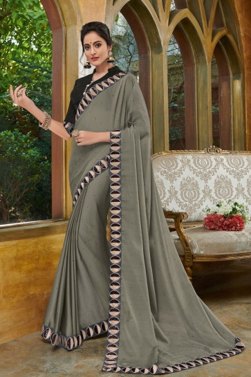 Gorgeous Grey Chiffon Embroidered Party Wear Saree With Silk Blouse
