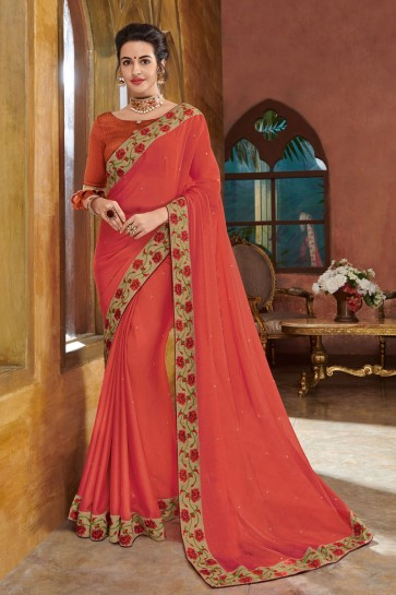 Marvelous Orange Georgette Embroidered Party Wear Saree With Silk Blouse