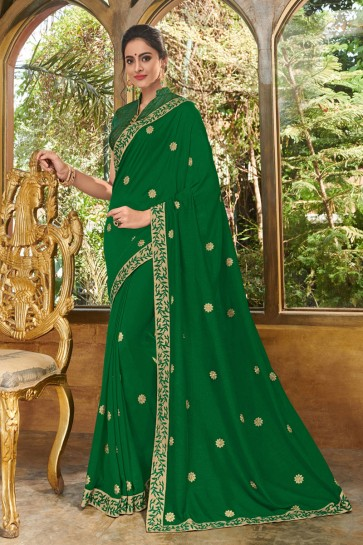 Ultimate Green Silk Embroidered Party Wear Saree With Silk Blouse