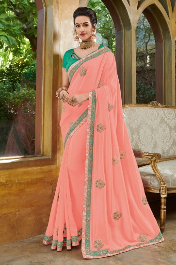 Graceful Peach Silk Embroidered Party Wear Saree With Silk Blouse