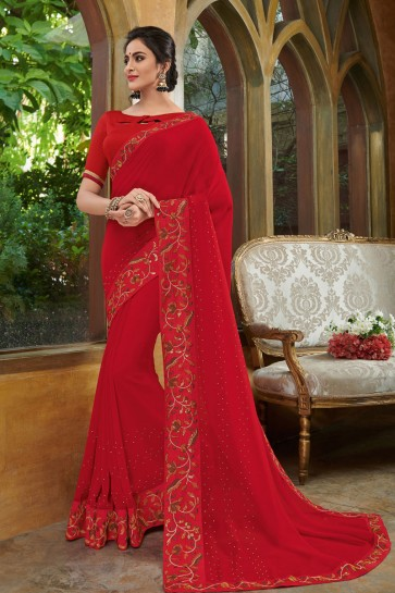 Supreme Red Georgette Embroidered Party Wear Saree With Silk Blouse