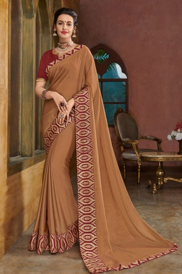Lovely Brown Chiffon Embroidered Party Wear Saree With Silk Blouse