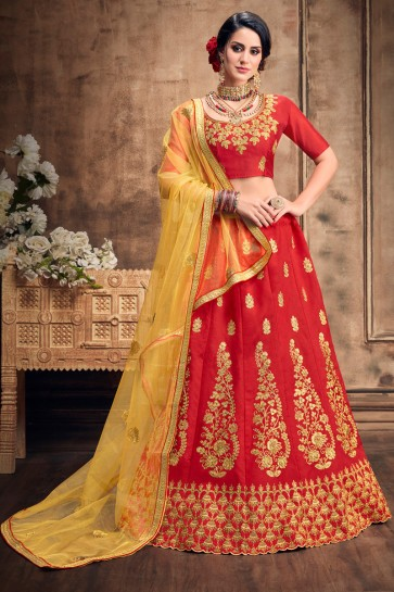 Lovely Red Party Wear Embroidered Art Silk Lehenga With Art Silk Blouse