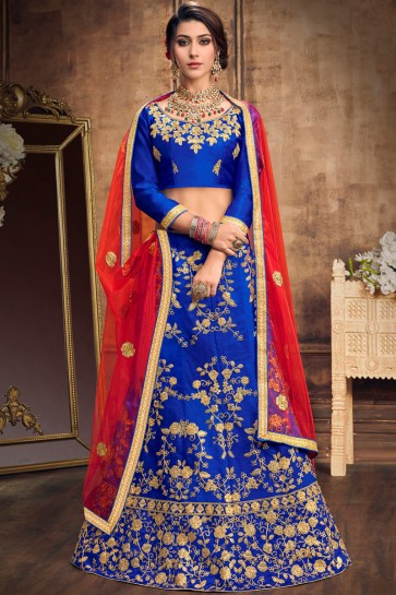 Party Wear Blue Embroidered Stylish Art Silk Lehenga With Art Silk Blouse