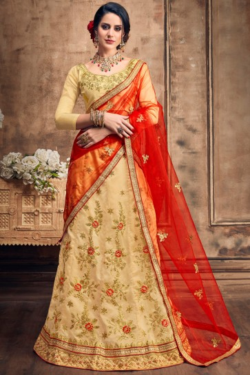 Beautiful Embroidered Beige Art Silk Lehenga With Art Silk Blouse