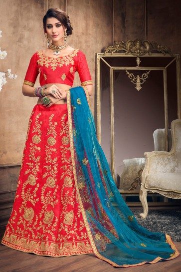 Stylish Party Wear Red Embroidered Art Silk Lehenga With Art Silk Blouse