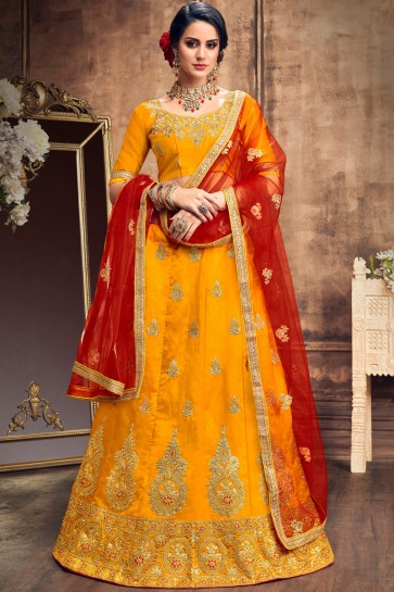 Party Wear Embroidered Yellow Stylish Art Silk Lehenga With Art Silk Blouse
