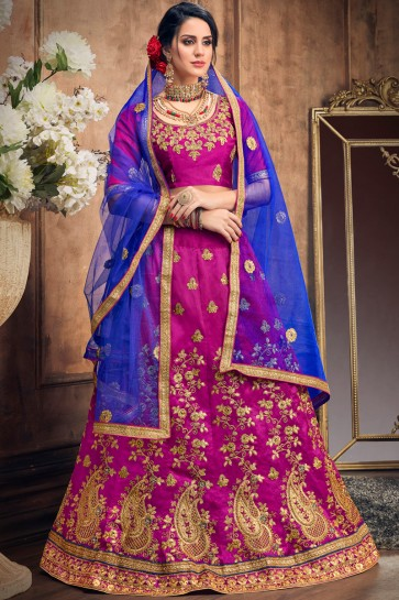 Megenta Beautiful Embroldered Art Silk Lehenga With Art Silk Blouse