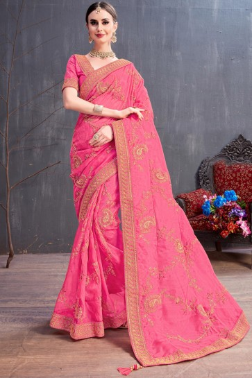 Lovely Pink Coding And Sequence Embroidered Organza Saree With Silk Blouse