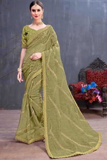 Party Wear Mehendi Green Coding Embroidered Organza Saree With Silk Blouse