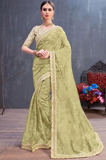 Mehendi Green Classic Coding And Sequence Embroidered Organza Saree With Silk Blouse
