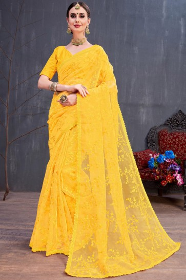 Stylish Yellow Resham Embroidered Organza Saree With Silk Blouse