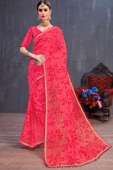 Red Stylish Resham Embroidered Organza Saree With Silk Blouse