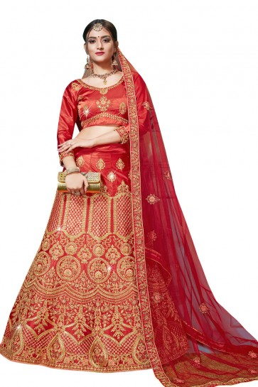 Gorgeous Red Satin and Silk Embroidered Bridal Lehenga Choli With Net Dupatta