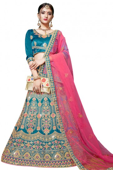 Desirable Teal Satin and Silk Embroidered Bridal Lehenga Choli With Net Dupatta