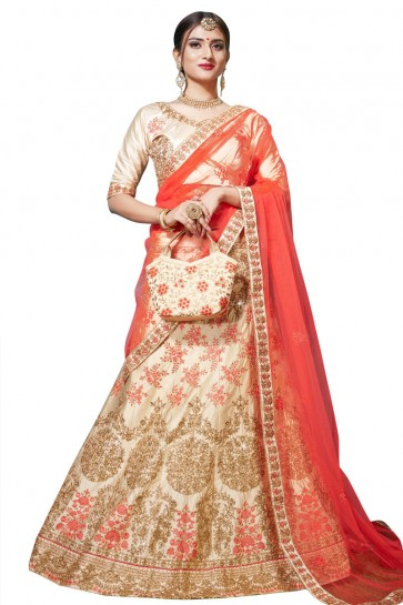 Excellent Beige Satin and Silk Embroidered Bridal Lehenga Choli With Net Dupatta