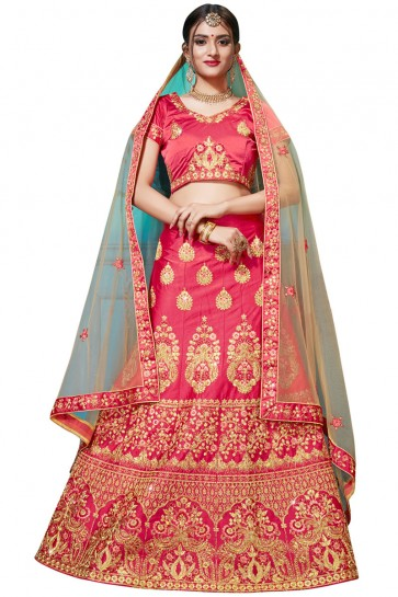 Charming Pink Satin and Silk Embroidered Bridal Lehenga Choli With Net Dupatta