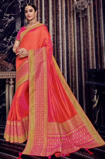 Gorgeous Orange Silk Jacquard Work Saree With Silk Blouse