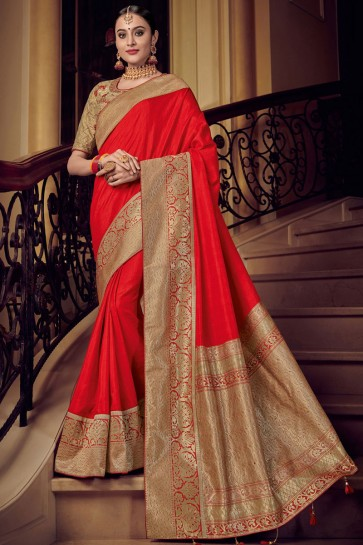 Supreme Red Silk Jacquard Work Saree With Silk Blouse