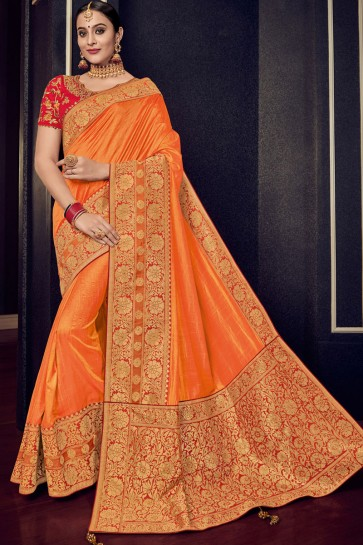 Graceful Orange Silk Jacquard Work Saree With Silk Blouse