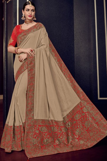 Admirable Beige Silk Jacquard Work Saree With Silk Blouse