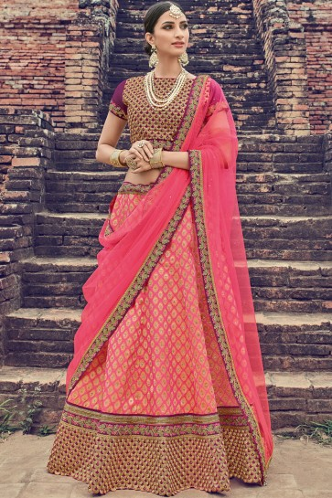 Optimum Pink Jacquard Embroidered Designer Lehenga Choli With Net Dupatta