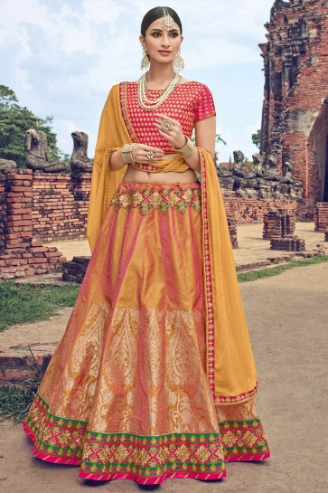 Graceful Mustard Jacquard Embroidered Designer Lehenga Choli With Net Dupatta