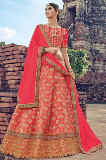 Stylish Pink Jacquard Embroidered Designer Lehenga Choli With Net Dupatta