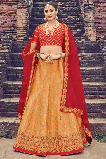 Lovely Orange Jacquard Embroidered Designer Lehenga Choli With Net Dupatta