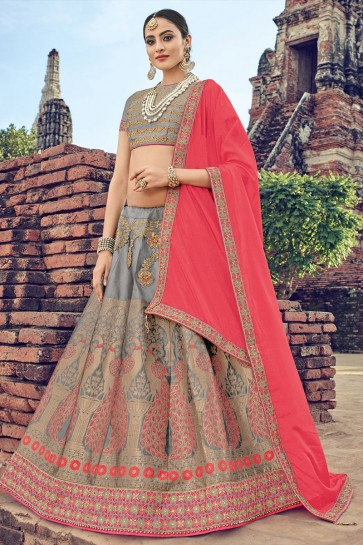 Pretty Grey Jacquard Embroidered Designer Lehenga Choli With Net Dupatta