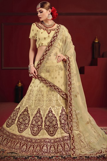 Beige And Maroon Stone And Thread Work Stylish Lehenga Choli With Net Dupatta