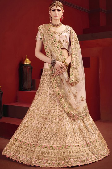 Baby Pink Stone And Zari Work Satin Lehenga Choli With Net Dupatta