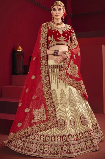 Beige And Red Stone Work And Thread Work Lehenga Choli And Satin Fabric
