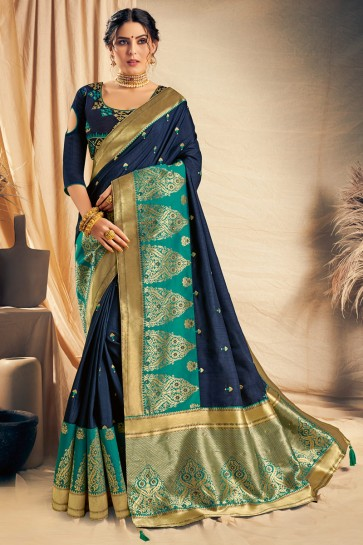 Appealing Navy Blue Thread Work And Embroidered Silk Saree With Embroidered Blouse