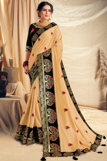 Stylish Cream Thread Work And Embroidered Silk Saree With Embroidered Blouse