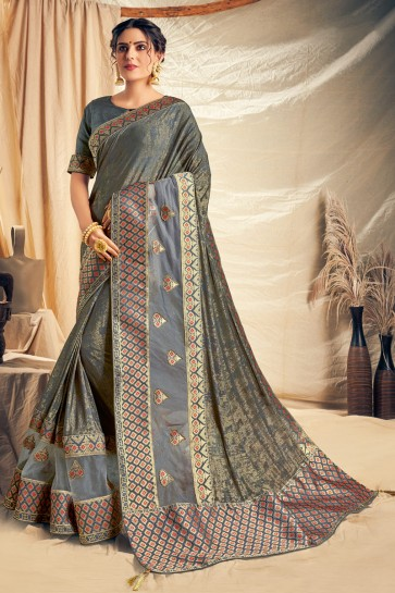 Beautiful Grey Thread Work And Embroidered Designer Silk Saree With Border Work Blouse